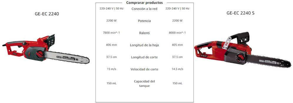 diferencias motosierra einhell ge-ec 2240 y ge-ec 2240 s